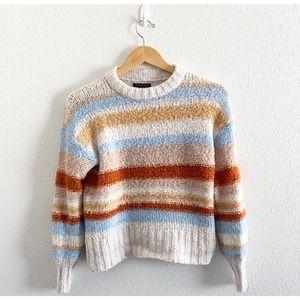 American Eagle Striped Knit Sweater Beige